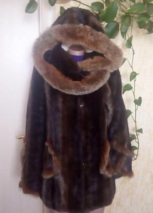 Норковая шуба отделка песцом/ шуба/ шубка/ полушубок/ шуба норка/шуба песец/пуховик/куртка