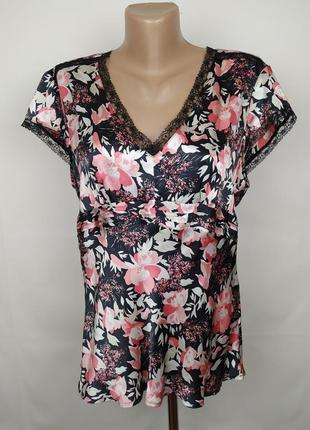 Блуза шелковая легкая цветочная большого размера next uk 18/46/xxl