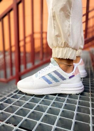 Женские кроссовки adidas zx 500 rm белые /жіночі кросівки білі знижка1 фото