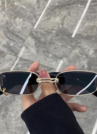 Очки окуляри хайповые унисекс 90-ые тренд темные черные солнцезащитные новые с кольцом