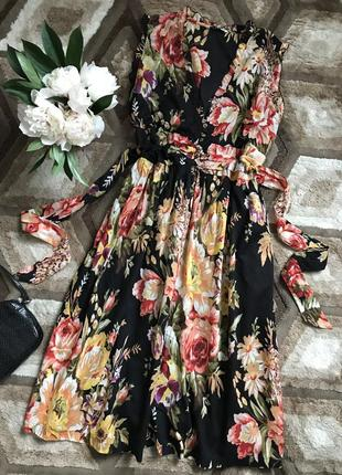 Летнее платье в цветочный принт хлопковое длинное платье в цветах сарафан в цветочек