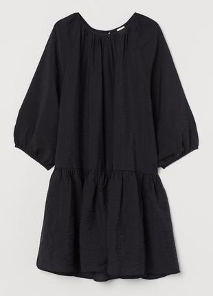 Платье трапеция чёрное мини h&m
