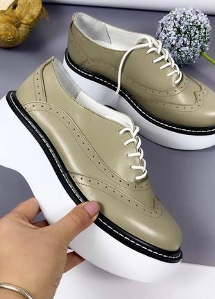 Рр 36-40. туфли на платформе натур кожа