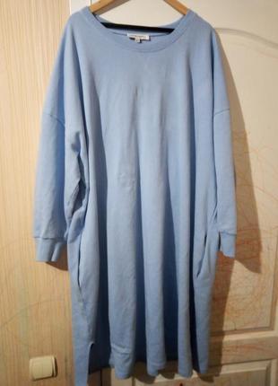 Котоновое тёплое платье очень большого размера пог 80 см
