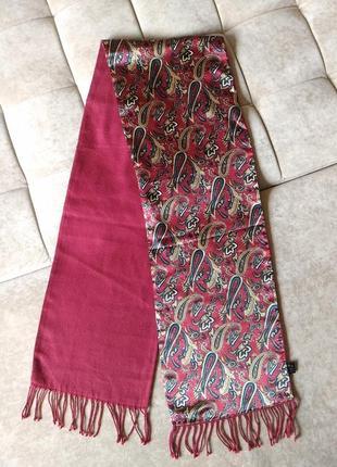 Мужской 2-х сторонний тёплый шарф цвета марсала принт турецкий огурец