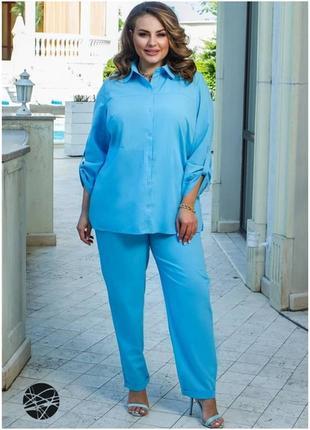 Лляний костюм з сорочки і брюк3 фото