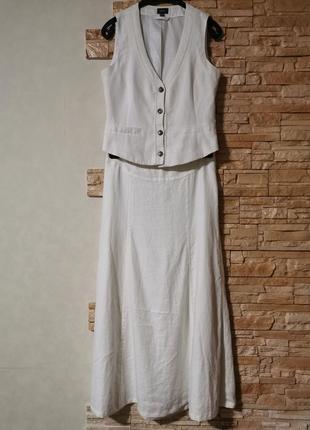 Бесподобный льняной белый костюм, юбка макси+блуза-жилет, 100% лён