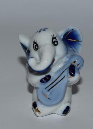 Мини фигурка статуэтка слоник роспись фарфор позолота винтаж