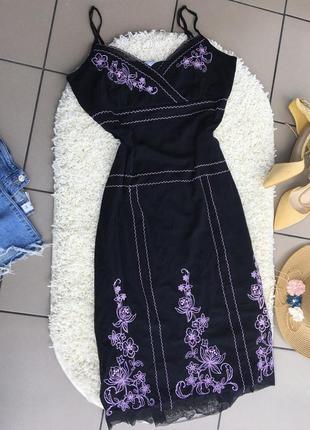 Платье миди по фигуре с вышивкой в цветы плаття сукня
