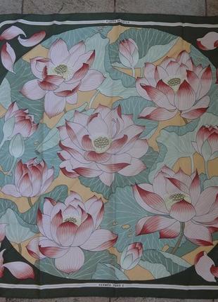 """Шелковый платок hermes  """"fleurs de lotus"""" оригинал!"""