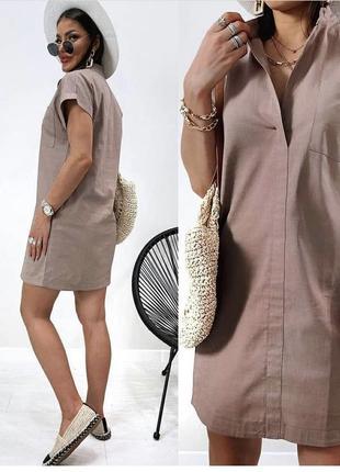 Женское льняное платье летнее