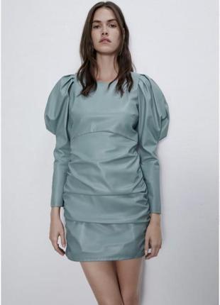Zara ,кожаное платье