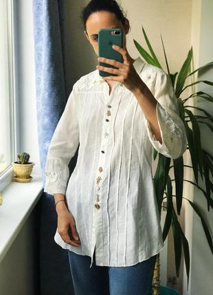 Итальянская блуза хлопок лен шелк с интересными деталями бохо этно богема arte pura