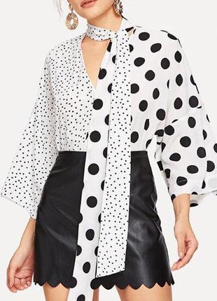 Блуза в горошек белая блузка в горох женская рубашка комбинированная