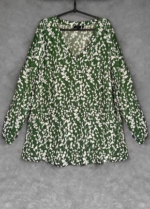 Натуральная свободная туника платье с принтом