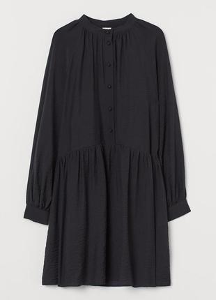 Платье чёрное мини с пуговицами h&m