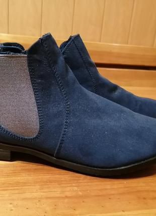 Ботиночки  синие ботинки oliver , натуральная замша и нубук, 38 р
