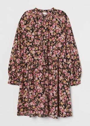 Натуральное воздушное платье в розы, платье цветочный принт h&m