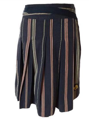 Pauw amsterdam юбка котоновая синяя в полоску со складками