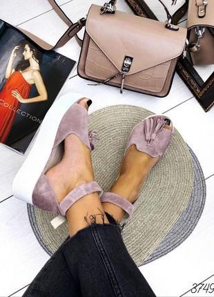 Босоножки лиловые замш с кисточкой открытый носок