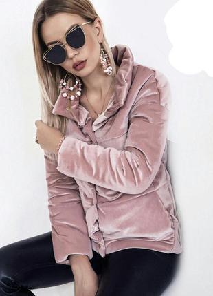 Невероятная бархатная теплая куртка пуховик на синтипоне осень зима
