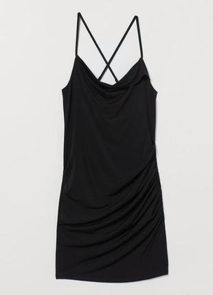 Платье с драпировкой на тонких бретелях мини чёрное h&m