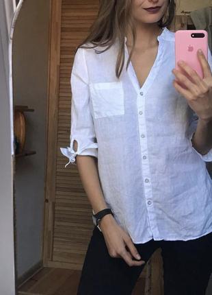 Рубашка блуза льняная zara, m