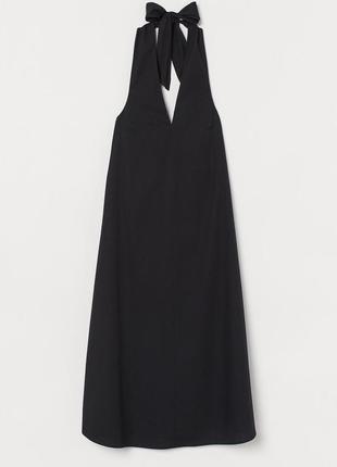 Платье чёрное хлопковое с завязкой вокруг шеи h&m
