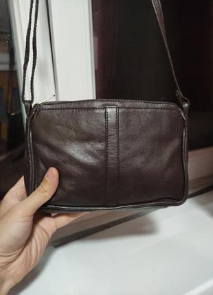 C&a маленькая кожаная сумочка темно коричневая кросс боди барсетка