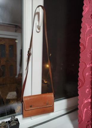 Маленькая кожаная сумочка кросс боди сумка коричнево красная клатч