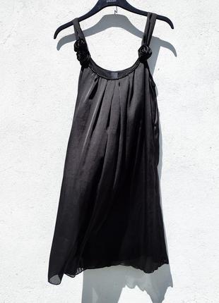 Элегантное красивое чёрное платье свободного кроя vila clothes
