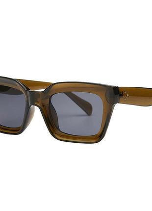 Солнцезащитные очки оливковые коричневые в стиле h&m zara9 фото