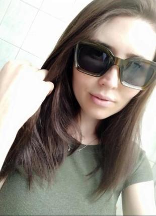 Солнцезащитные очки оливковые коричневые в стиле h&m zara5 фото