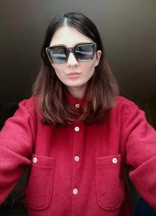 Солнцезащитные очки оливковые коричневые в стиле h&m zara8 фото