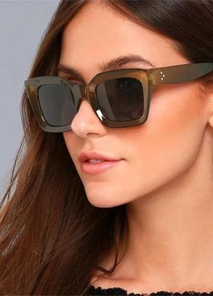 Солнцезащитные очки оливковые коричневые в стиле h&m zara4 фото