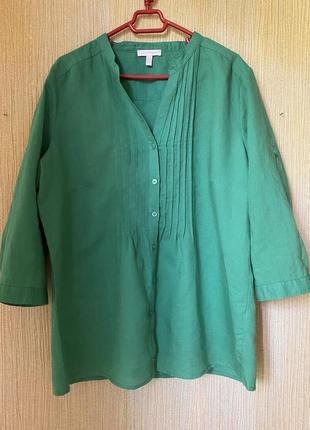 Рубашка,льняная зелёная рубашка, блузка