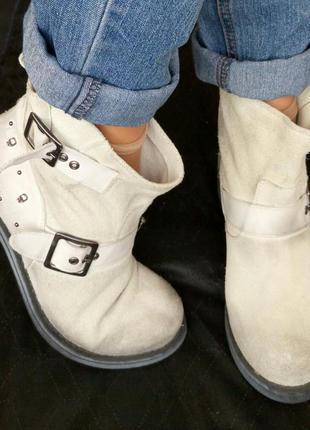 Замша,кожа!новые kookai франция ботинки,сапоги серые черепа 38р/24см