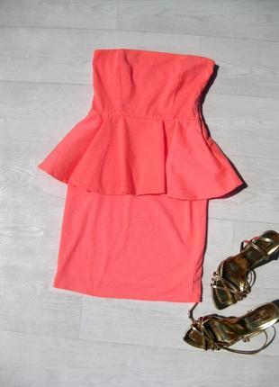 Яркое гелевое розовое оранжевое платье бюстье с баской zara