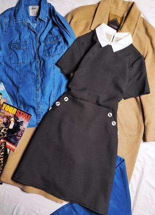 Платье чёрное в белый горошек классическое новое с карманами белым воротником