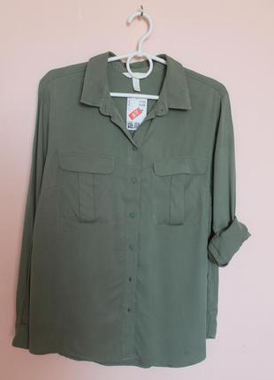 Оливковая натуральная рубашка, рубашечка, блузка, блуза 50-52 р.