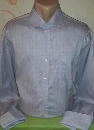Великолепная рубашка сиреневого цвета под запонки next luxury superfine , made in turkey