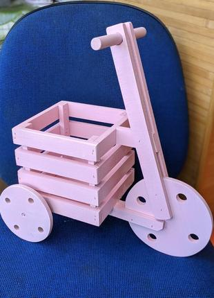 Дерев'яний велосипед кашпо, декоративный горшок для цветов