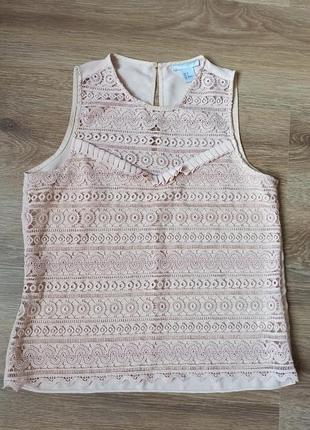 Нарядная ажурная блуза без рукавов