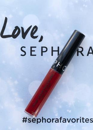 Супер стойкая жидкая матовая помада sephora cream lip stain 96 red velvet