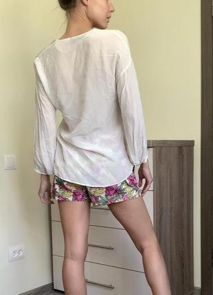 Шёлк блуза рубашка кофта майка блузочка длинный рукав цвет айвори4 фото