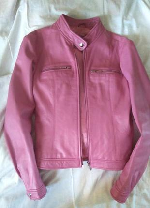Рожева куртка з натуральної шкіри/розовая куртка из натуральной кожи