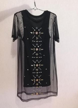 Платье в сетку, с подкладкой