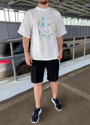 💣лёгкая белая футболка с принтом💣