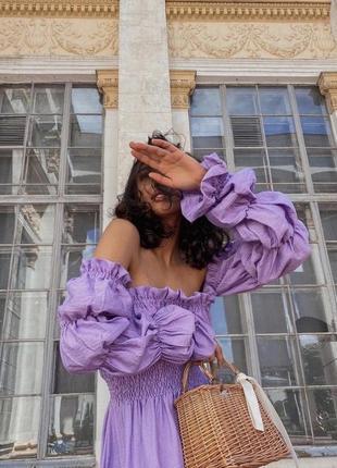Нежное лиловое платье цвета лаванды
