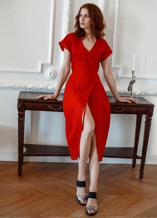 Стильное красное платье oasis на запах/миди/хлопок